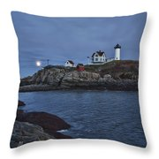 Full Moon Rise Over Nubble Throw Pillow