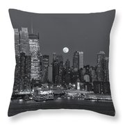 Full Moon Rising Over New York City IIi Throw Pillow