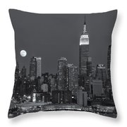 Full Moon Rising Over New York City Iv Throw Pillow