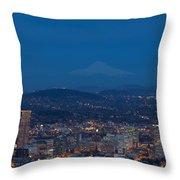 Full Moon Rising Over Portland Cityscape Throw Pillow