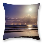 Full Moon Rising Over Sandgate Pier Throw Pillow