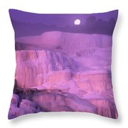 Full Moon Sets Over Minerva Springs On A Winter Morning Yellowstone National Park Throw Pillow