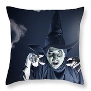Full Moon Witch Throw Pillow