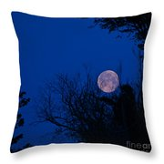 Full Moon With Trees Throw Pillow