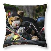 Full Throttle Teddy Bear Throw Pillow