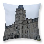 Full View Of Quebec's Parliament Building Throw Pillow