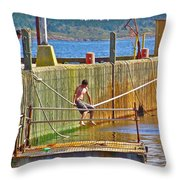 Fun At The Ferry Dock On Brier Island In Digby Neck-ns Throw Pillow