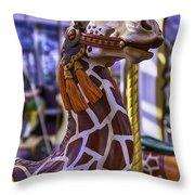Fun Giraffe Carousel Ride Throw Pillow