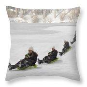 Fun In The Snow Throw Pillow by Susan Candelario