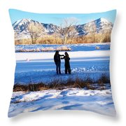 Fun On The Ice Throw Pillow