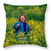 Fun Picking Flowers Throw Pillow