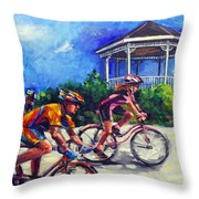 Fun Time In Bicycling Throw Pillow