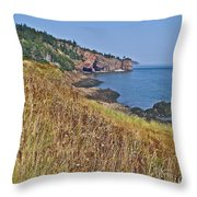 Fundy Bay Coastline Near Cliffs Of Cape D'or-ns Throw Pillow