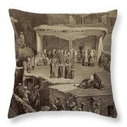 Funeral Ceremony In The Ruins Throw Pillow