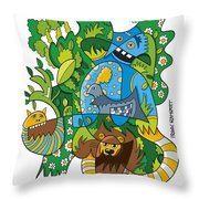 Funky Animals Nature Doodle Throw Pillow