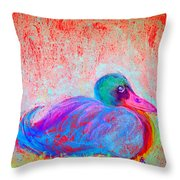 Funky Duck In Snowfall Throw Pillow