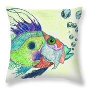 Funky Fish Art - By Sharon Cummings Throw Pillow