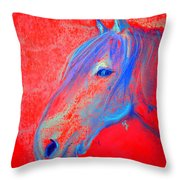Funky Handsome Horse Blue Throw Pillow