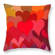 Funky Hearts Throw Pillow