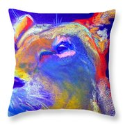 Funky Lioness Jungle Queen Throw Pillow
