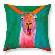 Funky Llama Art Print Throw Pillow