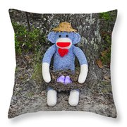 Funky Monkey - Purple Peeps Throw Pillow