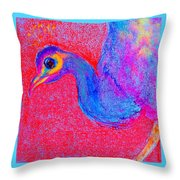 Funky Peacock Bird Art Prints Throw Pillow