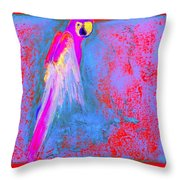 Funky Rainbow Parrot Art Prints Throw Pillow