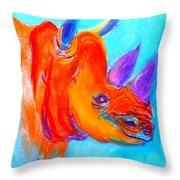 Funky Rhino African Jungle Throw Pillow