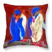 Funky Rockhopper Penguins Throw Pillow
