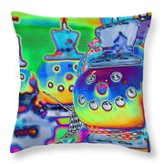 Funky Snowman Holiday  Throw Pillow