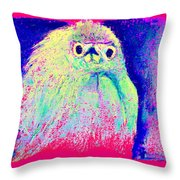 Funky Snowy Egret Bird Art Prints Throw Pillow