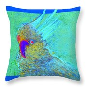 Funky Sulphur Crested Cockatoo Bird Art Prints Throw Pillow