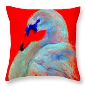 Funky Swan Blue On Red Throw Pillow