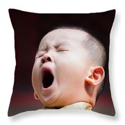 Funny Chinese Child Yawning Throw Pillow
