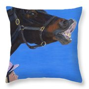 Funny Face - Horse And Child Throw Pillow