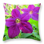 Funny Flower Faces Throw Pillow