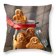 Funny Gingerbread Men Throw Pillow