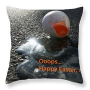 Funny Greeting Card For Easter Throw Pillow