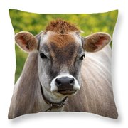 Funny Jersey Cow -square Throw Pillow