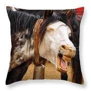 Funny Looking Horse Throw Pillow