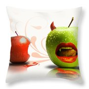 Funny Satirical Digital Image Of Red And Green Apples Strange Fruit Throw Pillow by Sassan Filsoof