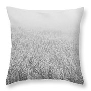 Fur Trees In The Snow Throw Pillow