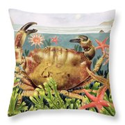 Furrowed Crab With Starfish Underwater Throw Pillow