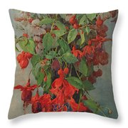Fushia And Snapdragon In A Vase Throw Pillow