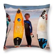 Future Surfing Champs Throw Pillow