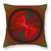 Futuristic Green And Red Tech Disc Fractal Flame Throw Pillow