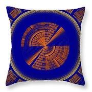 Futuristic Tech Disc Blue And Orange Fractal Flame Throw Pillow