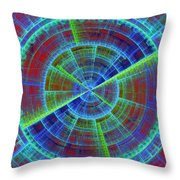 Futuristic Tech Disc Red And Blue Fractal Flame Throw Pillow
