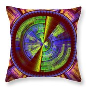 Futuristic Tech Disc Red Green And Yellow Fractal Flame Throw Pillow